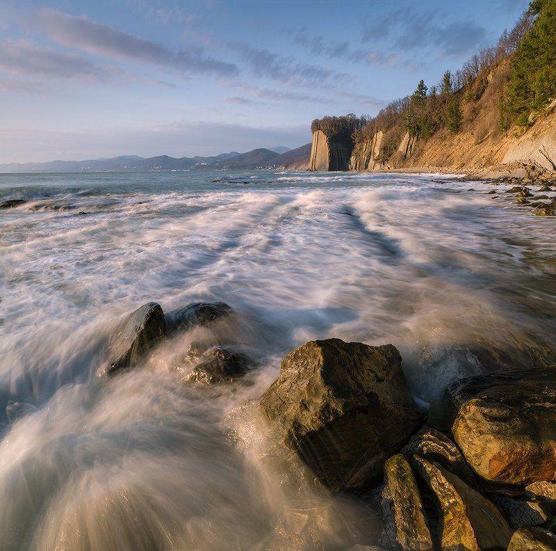 черное море февраль вечер туапсе скала киселева Черноморский вечерphoto preview