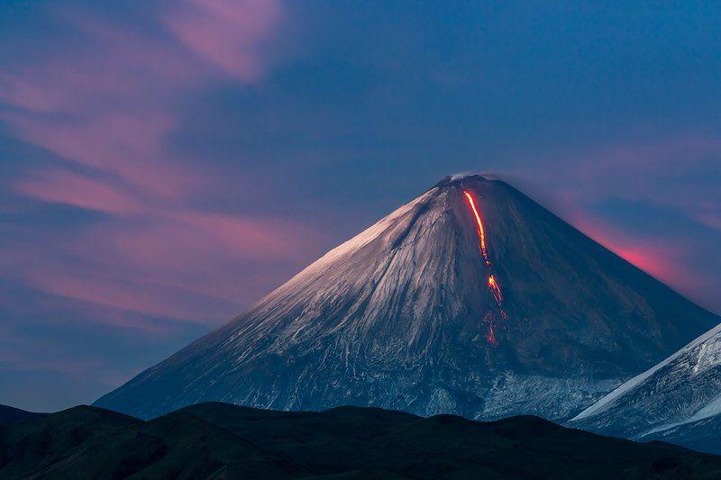 камчатка, вулкан, извержение, лава, закат, огонь, природа, пейзаж, Огонь на закатеphoto preview