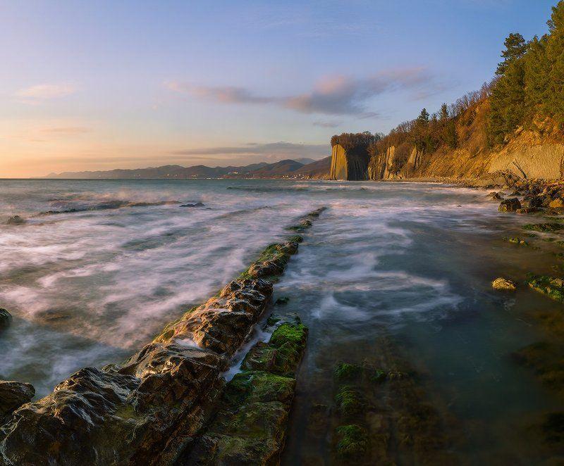 черное море скала киселева туапсе февраль закат В лучах закатаphoto preview