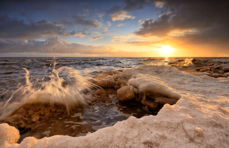 пейзаж море рассвет зима лёд ***photo preview