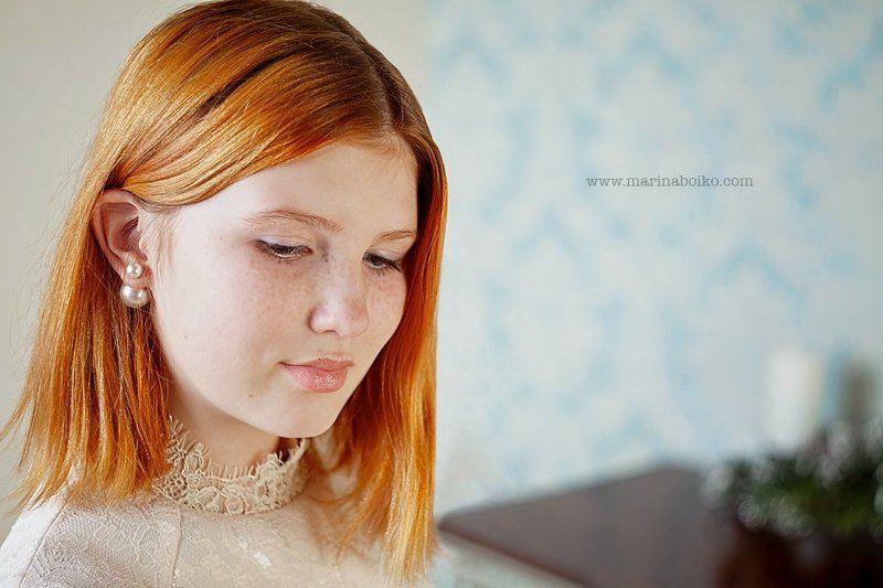 девушка, портрет, женский портрет, фотография, рыжая, фото, свет, огонь, нежный портрет, студия, свет, light, studio, woman, girl, red hair, portrait, photo, photography Ксенияphoto preview