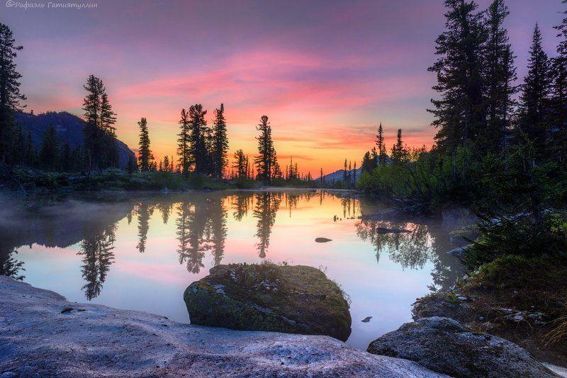 красноярский край, западные, саяны, национальный парк  ергаки, озеро, лазурное, закат, горы, природа. Озеро Лазурное. Национальный парк Ергаки.photo preview