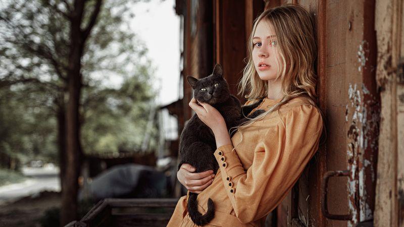 портрет, арт, модель, portrait, art Девочка с котомphoto preview