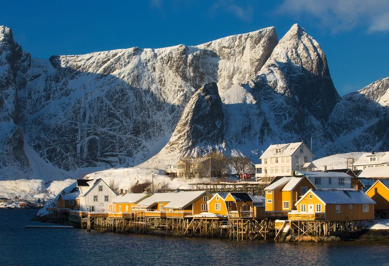 норвегия, лофотены, norway, lofoten Утро в деревне Sakrisøyphoto preview