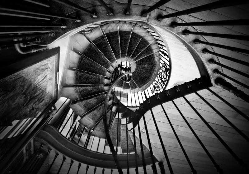 staircase, architecture, paris, interior, spiral, black and white, geometry, associations Зрю!photo preview