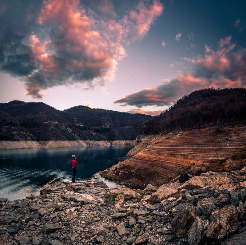 sunset, water, dam, landscape, mountain In th e end of the winterphoto preview