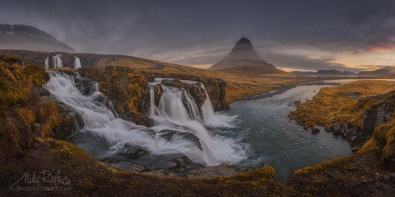 church mountain falls, kirkjufell, kirkjufellsfoss, grundarfjorour, snæfellsnes peninsula, iceland, pano, panoramic Водопад у Церковной Горыphoto preview