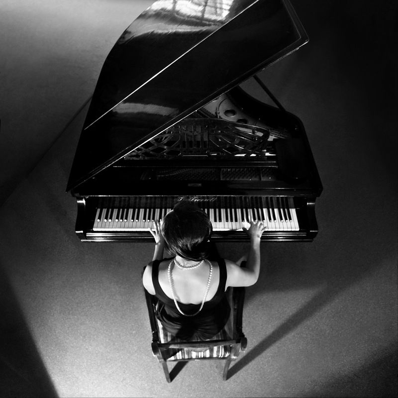 piano, music, pianist, concert, scene, light, black and white, geometry, top view, instrument, back, Pianophoto preview