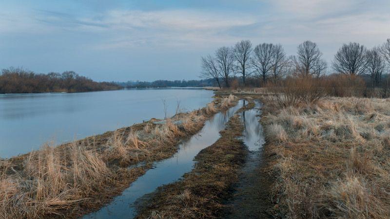 весна, март, река Березина, разлив, луг Весна. Мартphoto preview