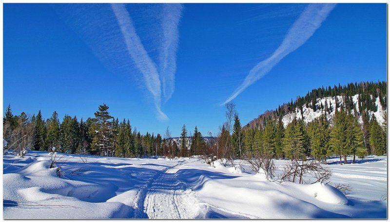 пейзаж, зима, снег, солнечный день!  Дороги! photo preview