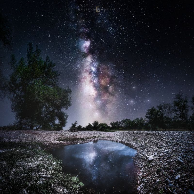 astrophotography, astronomy, galaxy, milky way, nightscape, night, sky, stars, long exposure, nature, bulgaria, space, panorama, crater, reflection, Crater Galaxyphoto preview
