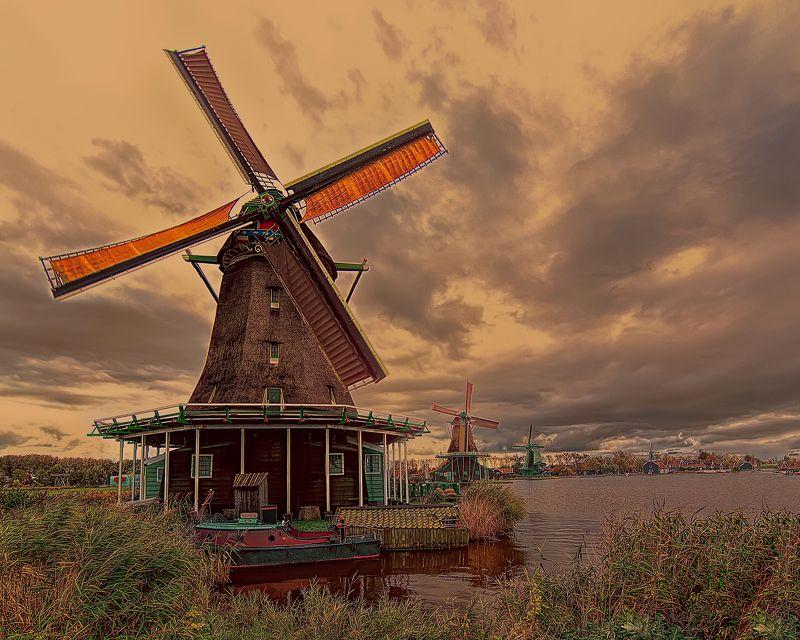 holland, windmill, голландия, мельница, zaanse schans, netherlands Старая мельница.photo preview