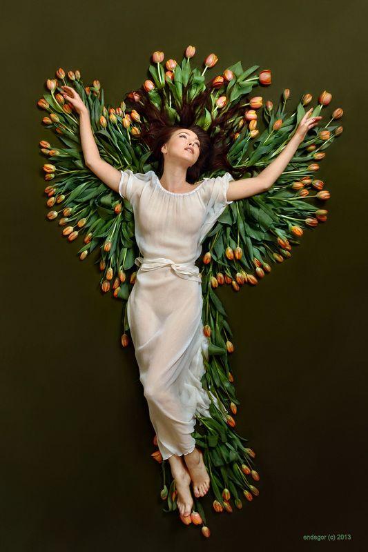 girl, portrait, emotive, joy, flight, wings, flowers, tulips, phoenix Фениксphoto preview