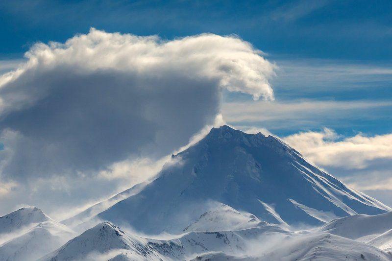 камчатка, зима, вулкан, природа, путешествие, снег Волнаphoto preview