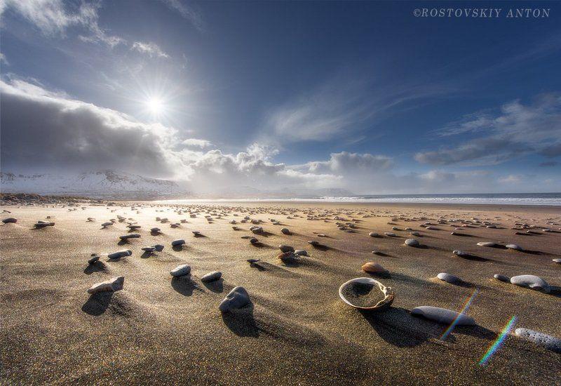 Исландия, пляж, камни, песок, солнце, фототур, Исландские пляжиphoto preview