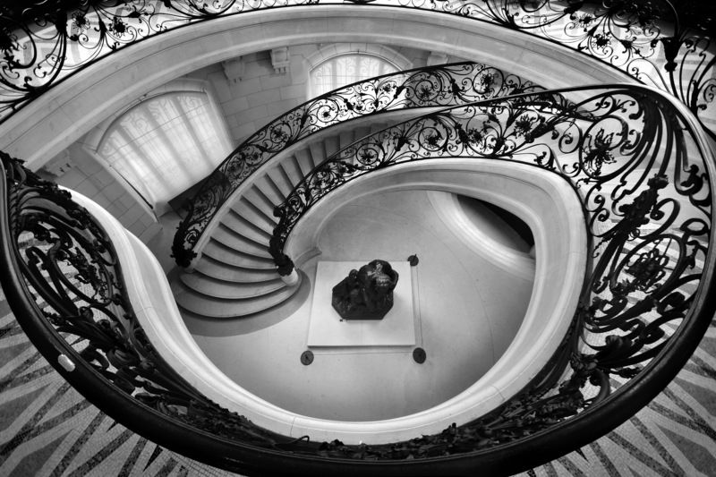 city, archtecture, interior, panorama, staircase, hall, railing, iron, museum, paris, Черный жемчугphoto preview