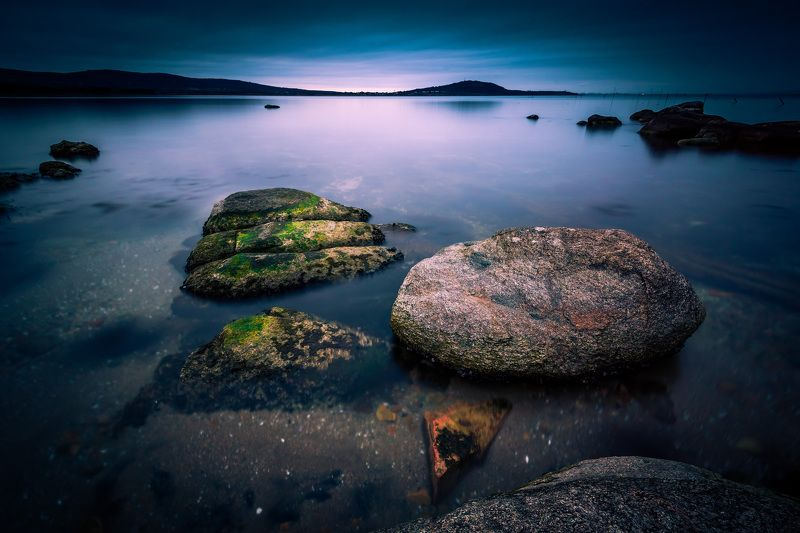 sea, water, rock, blue hour, landscape, long exposure Blue hourphoto preview
