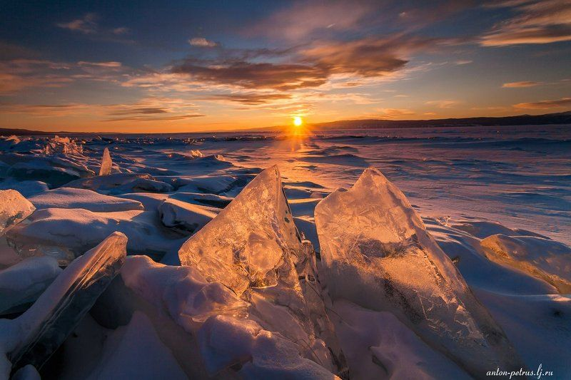 байкал, зима, лед, снег, закат Геометрияphoto preview