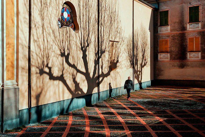 стрит, тень, дерево, голое, дольчеаква, италия, линии, брусчатка, храм, витраж. прохожий Между светом и теньюphoto preview