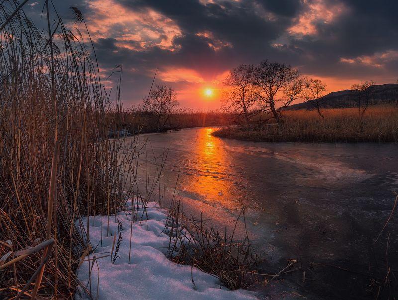 весна, закат, солнце, небо, облака photo preview