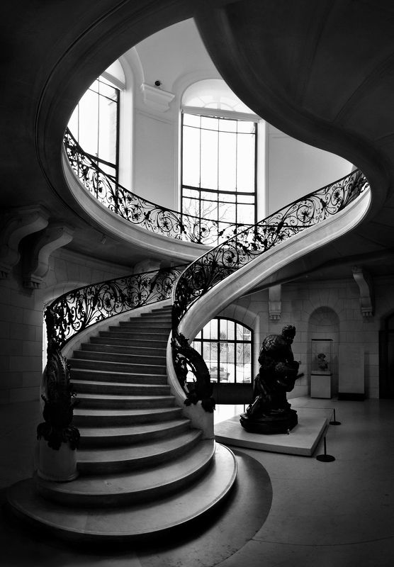 staicase, architecture, interior, depth, geomery, paris, association, rails, light, black and white Пламяphoto preview