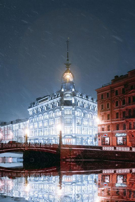 spring, russia, snow, спб, весна, снег, city, sky, небо, город, архитектура Торговый дом Эсдерс и Схейфальсphoto preview
