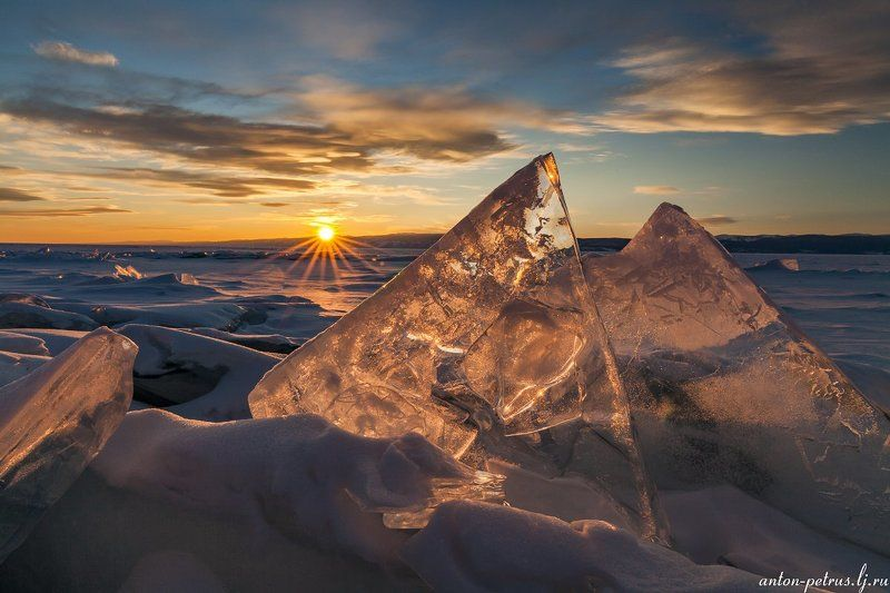 байкал, закат, лед, зима Геометрия закатаphoto preview