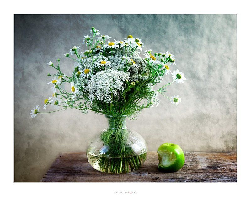 натюрморт, яблоко, полевые, цветы, stilleben, stillife photo preview