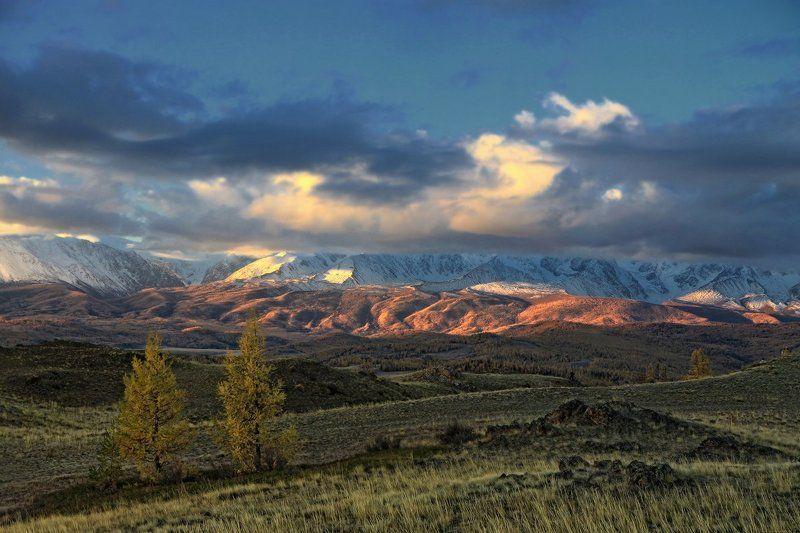 алтай, горный алтай, горы, рассвет, курай, северо-чуйский хребет На рассвете розовеют горыphoto preview