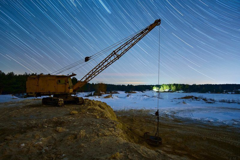 ночной пейзаж, звезды, треки, карьер, зима, stars, digger, tracks, nightscape, nigth, photography, wide angle Stars diggerphoto preview