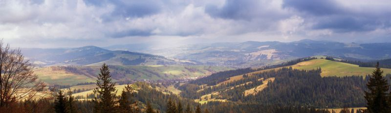 Апрель, Весна, Горы, День, Карпаты Апрельская панорамаphoto preview