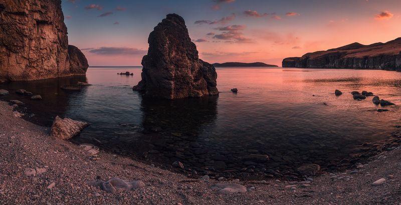панорама, весна, вечер, море, скалы, камни ***photo preview