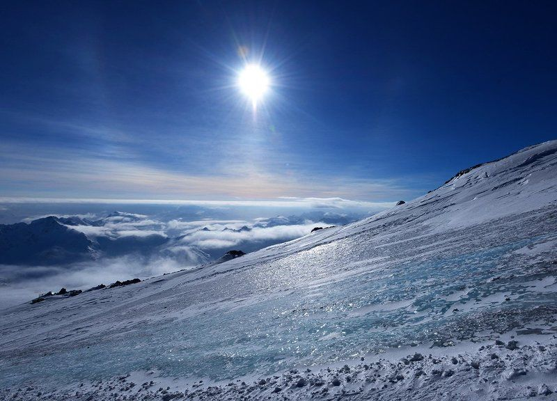 Кавказ, Эльбрус, Лёд, Гало Лёд Эльбрусаphoto preview
