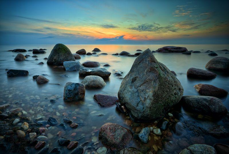море закат камни пейзаж После закатаphoto preview
