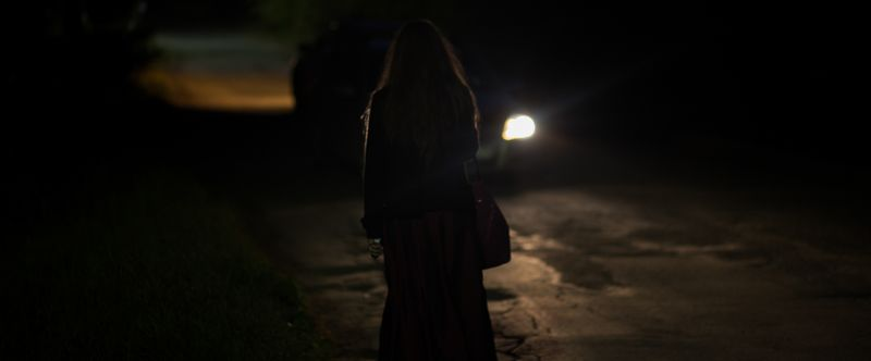 Вечер, Машина, Свет, Цвет, Контур, Девушка, Улица Киноphoto preview