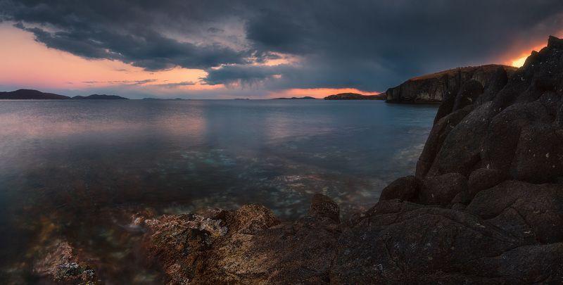сумерки, скалы, море, камни ***photo preview