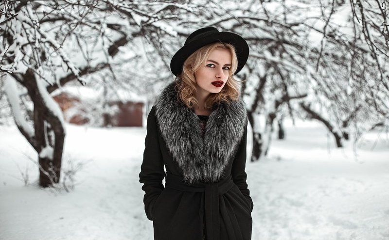 зима, природа, девушка, портрет зимой, снег,  ...photo preview
