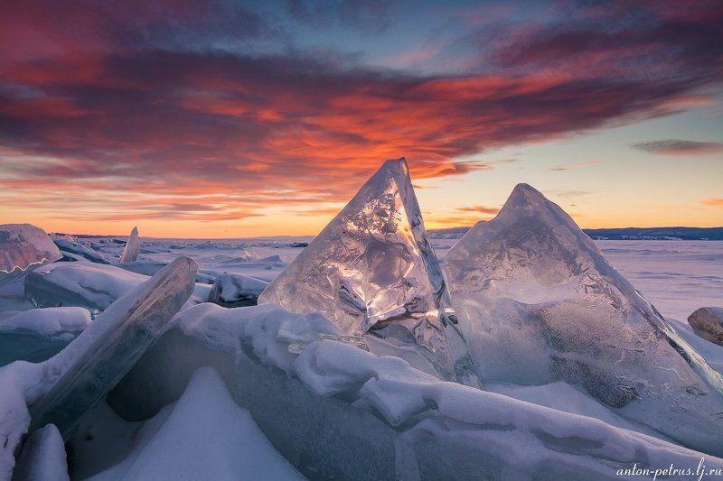 байкал, закат, лед Лед и пламяphoto preview