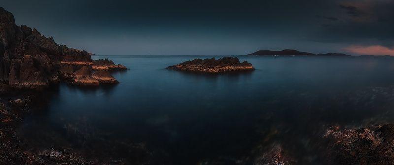 панорама, сумерки, весна, море, скалы, камни ***photo preview