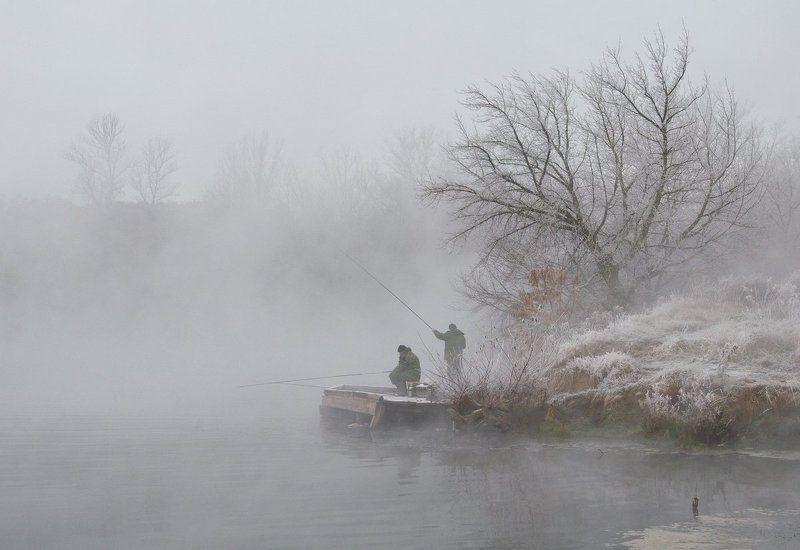 зима холод мороз снег иней озеро горячка рыбаки Рыбалка в ноябреphoto preview