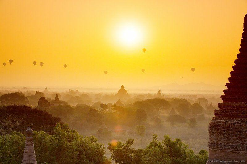 баган, мьянма, бирма, древнийгород, пагоды, храмы, буддизм, burma, myanmar, bagan, pagan, temples, temple, pagoda, sunset, oldcity, рассвет Утро в Баганеphoto preview