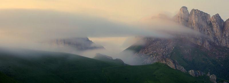 Природный парк, Большой Тхач, Ачешбоки, горы, туман, ночь, хребет, Кавказ Про Ачешбокиphoto preview