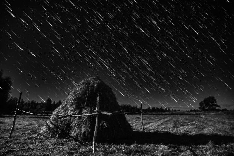 ночь пейзаж звезды треки деревня Звездный дождь в августеphoto preview
