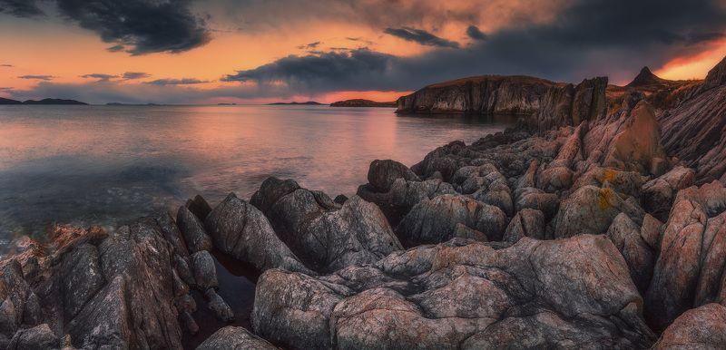 панорама, вечер, весна, море, скалы ***photo preview