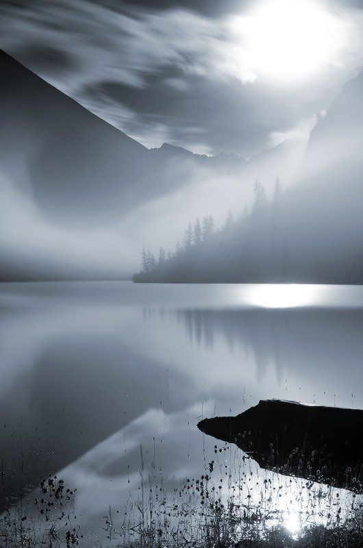 оз. нижнешавлинское, алтай геометрия ночного тумана (чб)photo preview