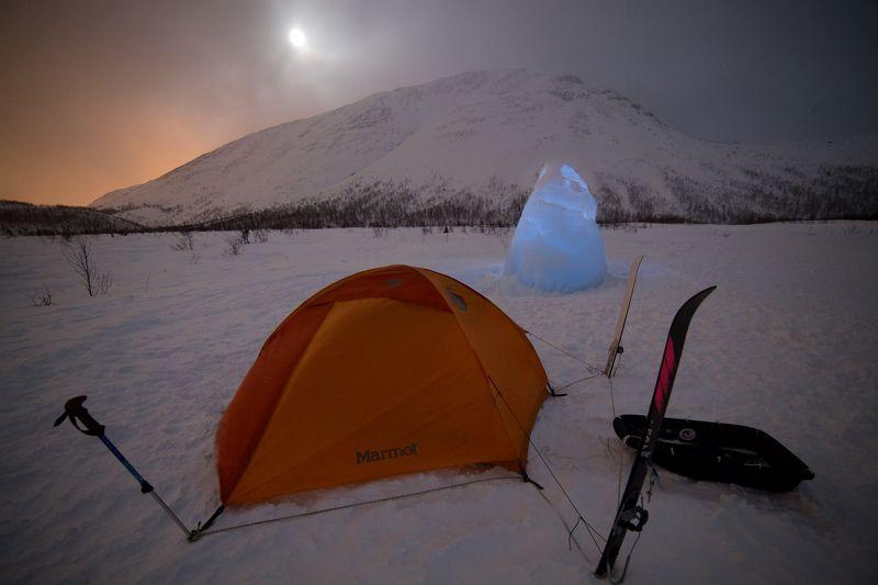хибины, зима, палатка, снег,  Холодная ночевкаphoto preview