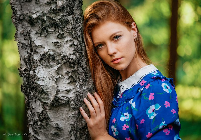 beauty, portrait, girl, young, female, redhead Girl in the parkphoto preview