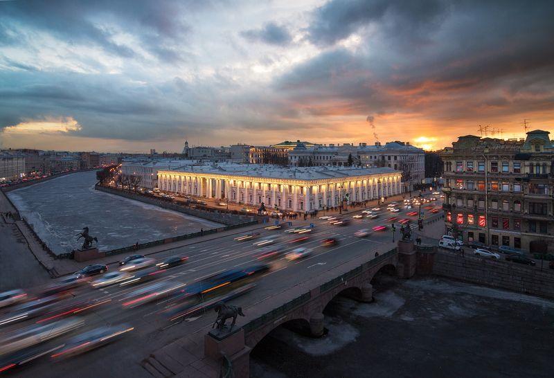 крыша, закат, город, пейзаж, urban exploration Аничковphoto preview