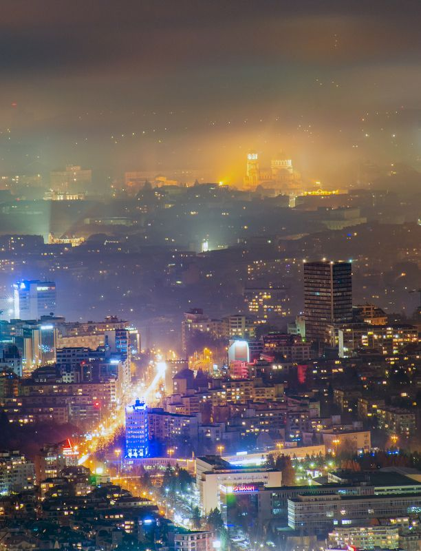 city, night, fog, lights, architecture Софияphoto preview