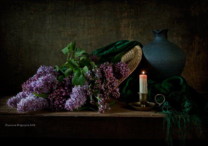 сирень, май, весна, лето, свеча, соломенная шляпка,натюрморт Пока горит свечаphoto preview